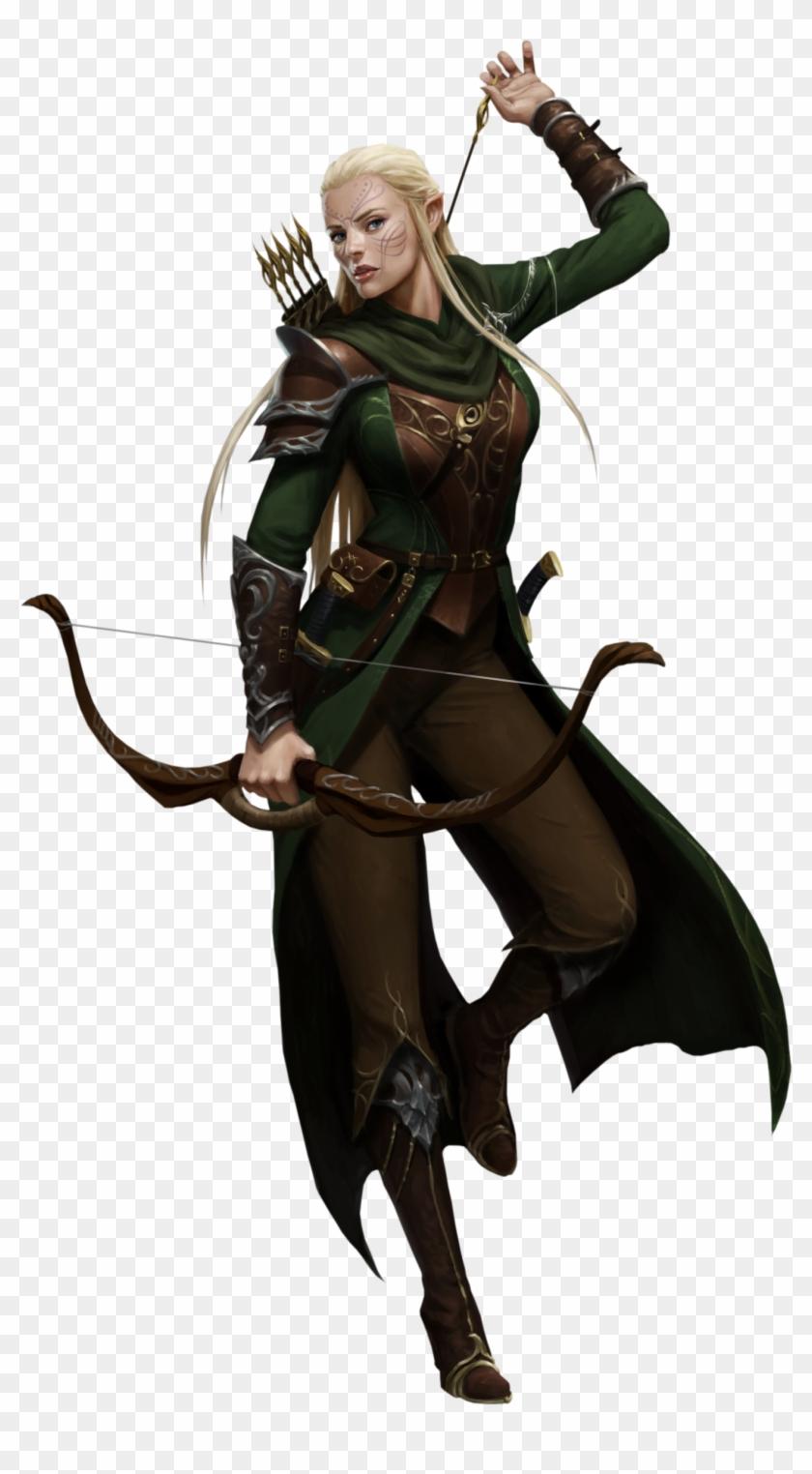 Pathfinder Female Elf Ranger , Png Download - Female High