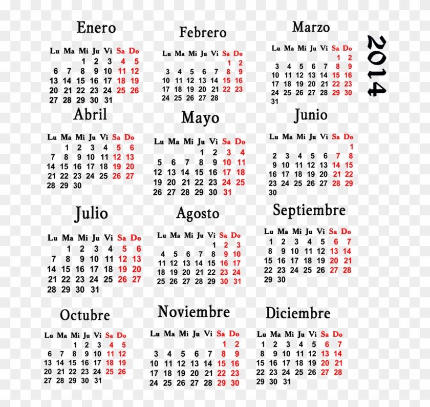 Calendario 18.Calendario 2014 Png One Page 2019 Calendar Pdf Transparent Png