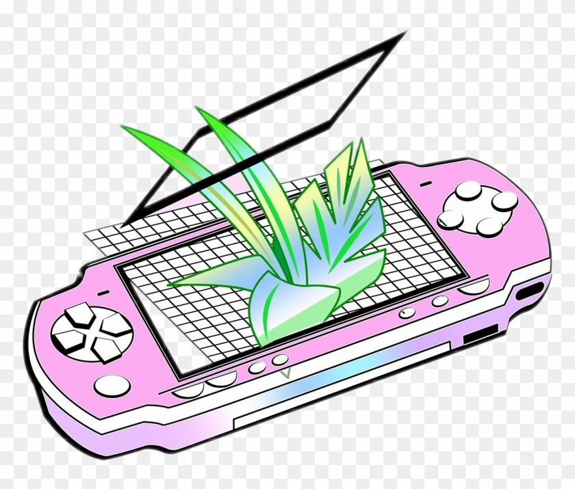 Vaporwave template. Electronics clipart collage aesthetic