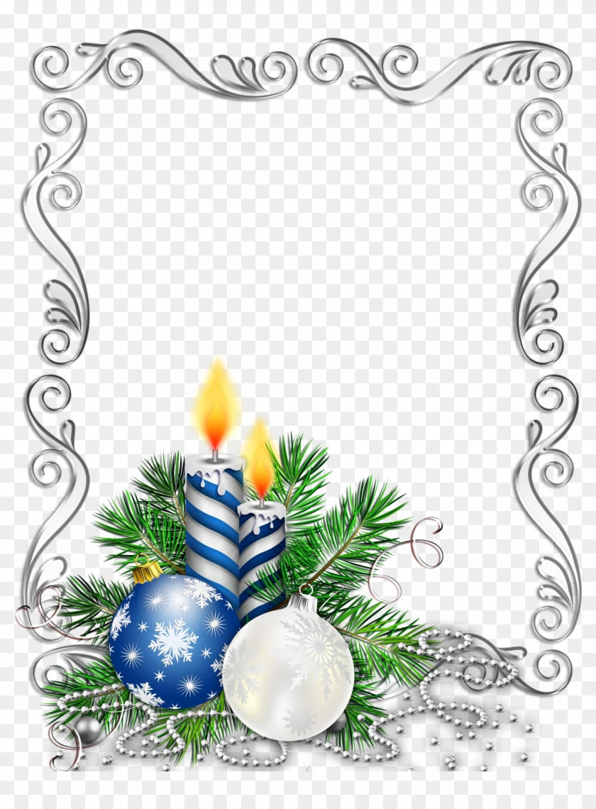 Christmas Border Design Png.Large Transparent Silver Christmas Photo Frame With Blue