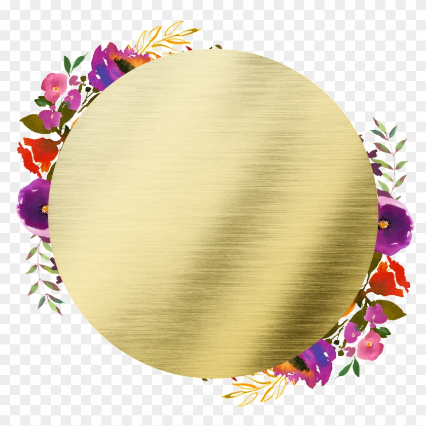 Hand Painted Round Frame Back Png Transparent Flower