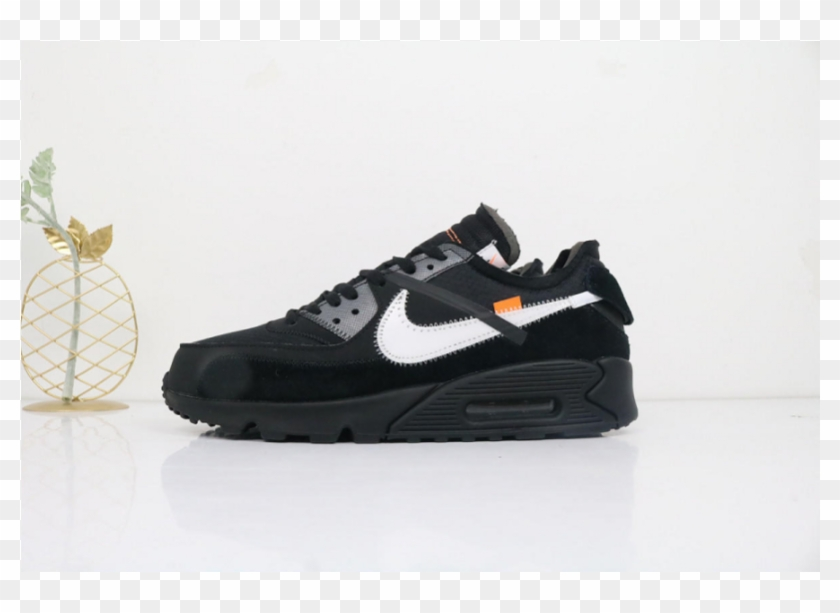 Off white X Air Max 90 'black' Sneakers, HD Png Download