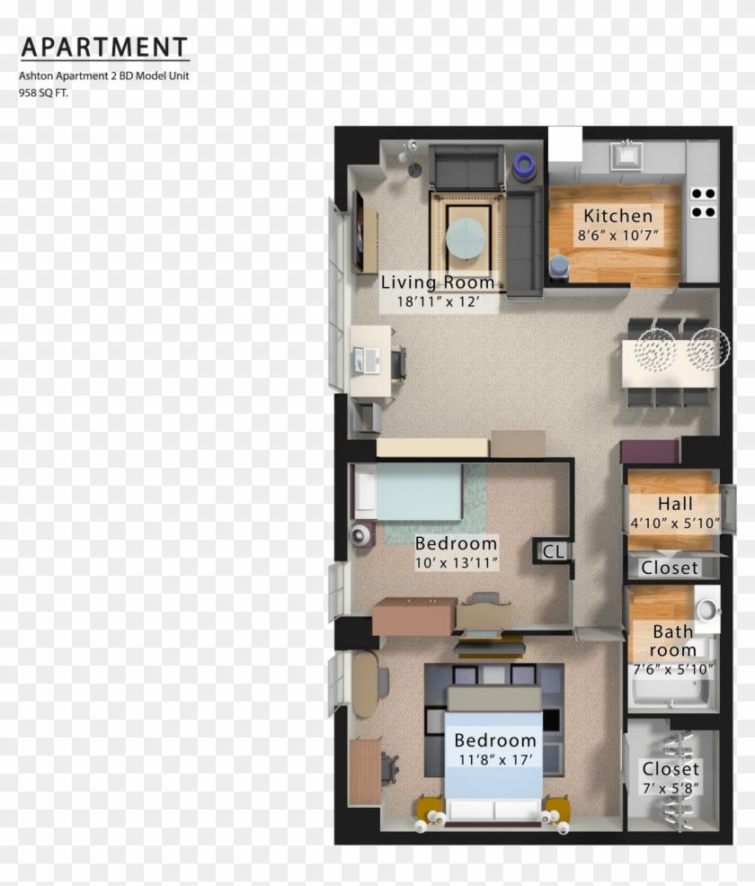 Ashton Apartment 3d Png Floor Plan Transparent Png 1800x1526 658564 Pngfind