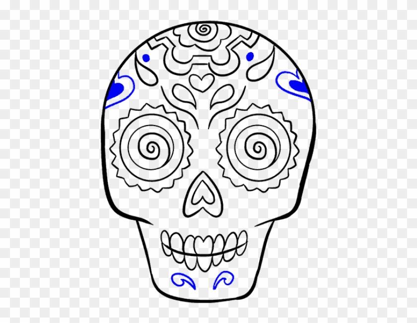 Sugar Skull Drawings Sugar Skull Easy Drawing Hd Png Download 728x644 6500738 Pngfind
