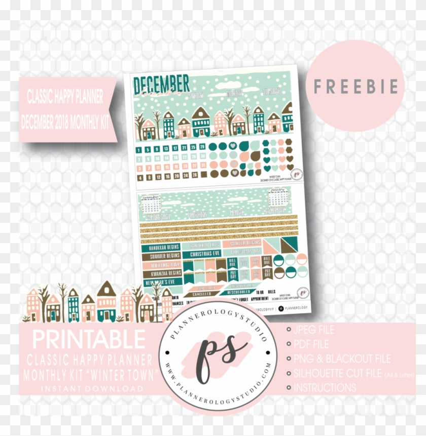 Winter Town Classic Happy Planner December 2018 Monthly