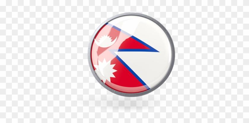 Illustration Of Flag Of Nepal - Nepal Flag Circle Png