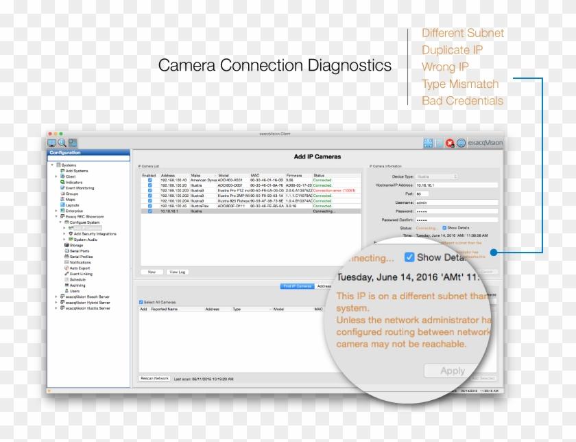 Camera Connection Diagnostics - Exacqvision Default Password, HD Png