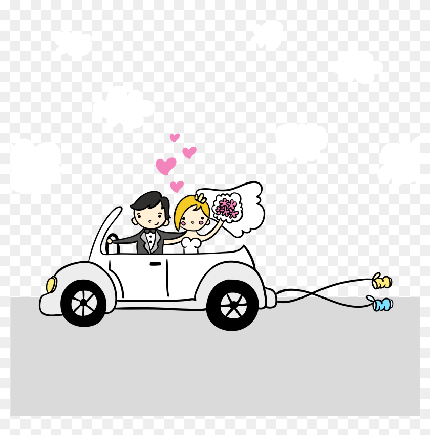 Couple Vector Marriage Cartoon Illustration Free Clipart Car Wedding Cartoon Png Transparent Png 4167x4167 6702868 Pngfind