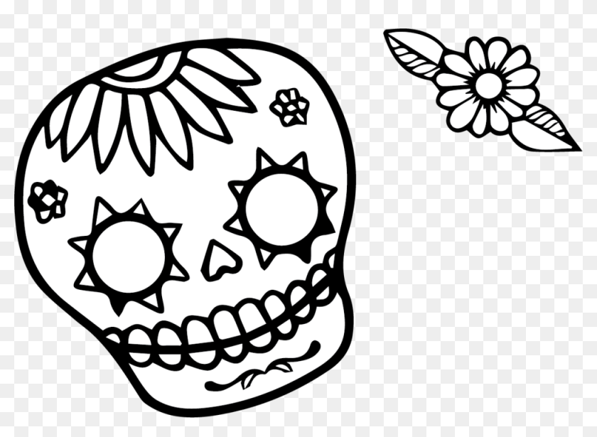 1819 Latina Doodle - Simple Sugar Skull Coloring Page, HD Png Download -  1000x685(#6799284) - PngFind