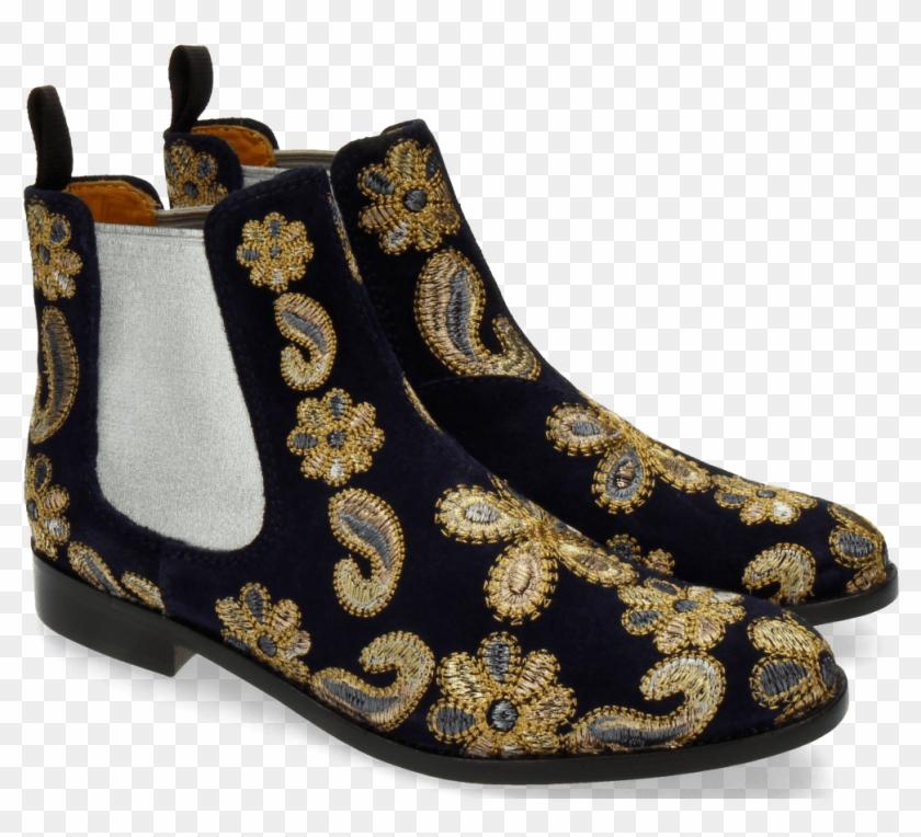 größte Auswahl an modische Muster Fabrik authentisch Ankle Boots Roberta 8 Suede Blue 111 Embrodery Paisley ...