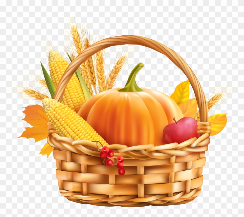 Autumn Harvest Basket Png Clipart Image - Fall Food Clipart