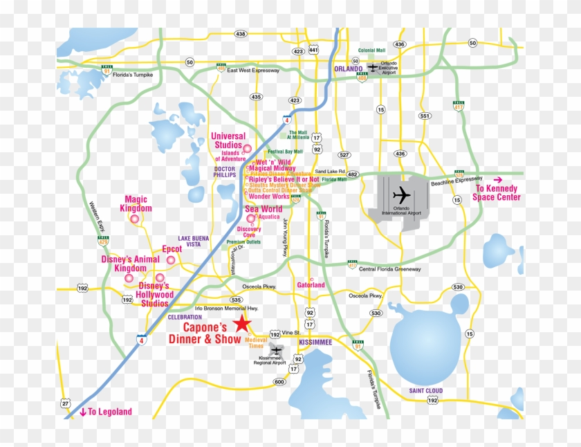 Florida Parks Map.Attractions Map Orlando Area Theme Park Map Alcapones Map Of