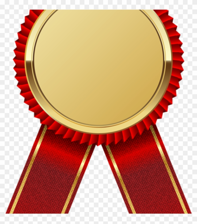 Certificate red. Ribbon clipart gold medal