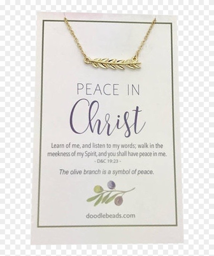 Pc Olive Branch Bar Necklace Gold Clipped - Paper, HD Png