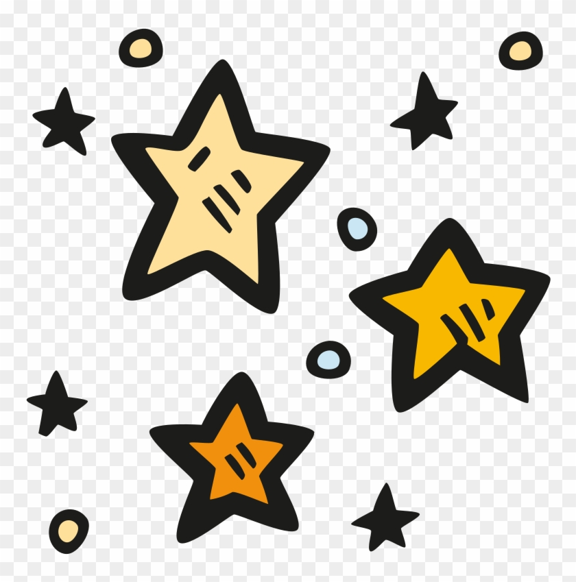 Stars drawn. Icon clipart hand star