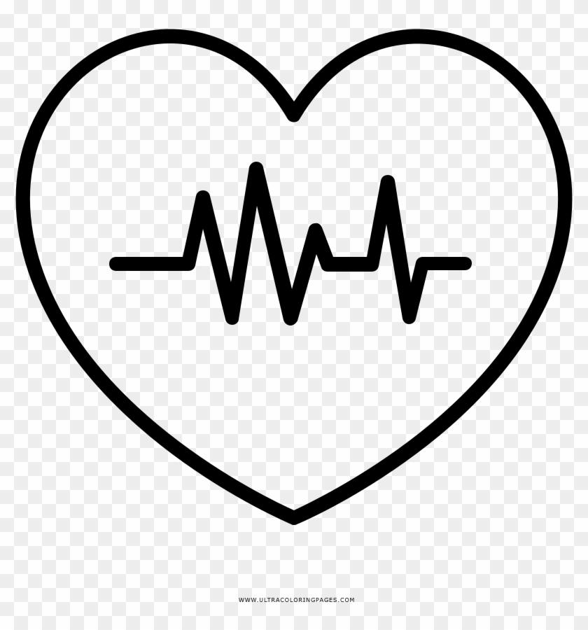Heartbeat Coloring Page Desenho Coracao Com Batimento Hd Png