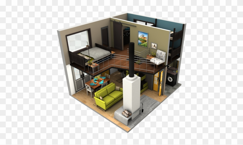 Tinyhousebigloft4 - Tiny House Small House Floor Plan, HD Png