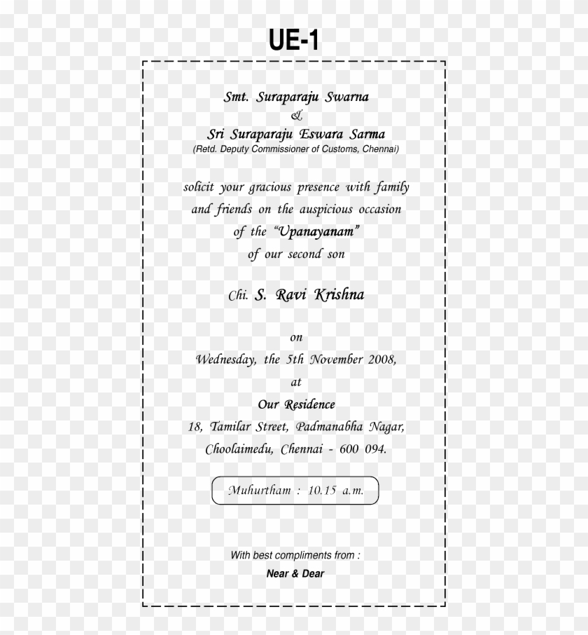 Thread Ceremony Invitation Card Matter In English Examples