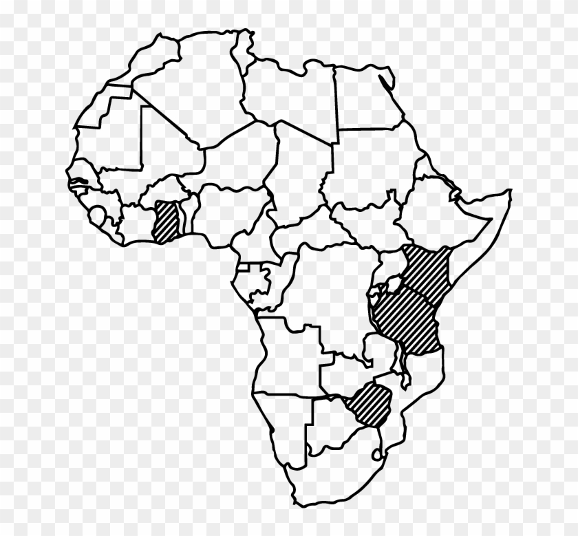 Africa Black Outline   Blank African Map, HD Png Download